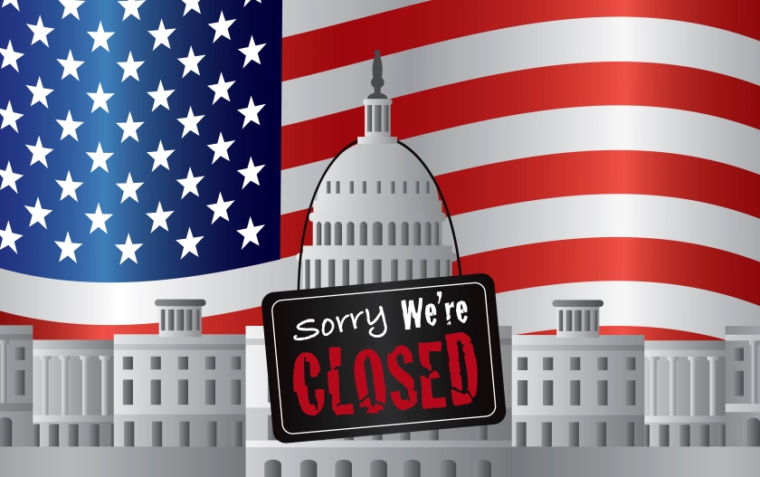 US Capitol Building with We are Closed Sign on US American Flag Background Illustration